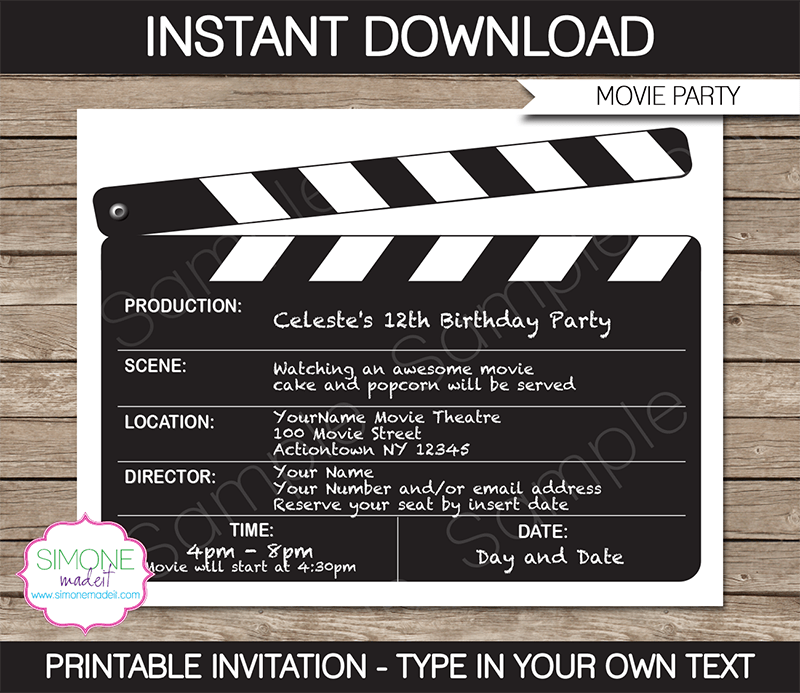 movie night party invitations template in 2018 ali s engagement