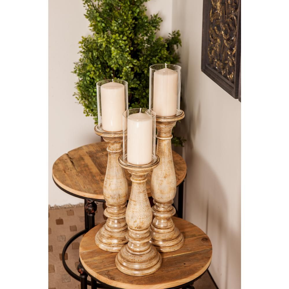 Litton Lane Distressed Beige Baer Shaped Mango Wood