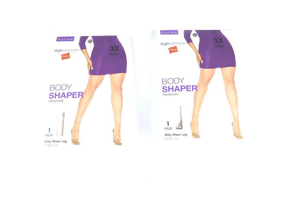 6bd87694f3d Hanes Style Essentials Body Shaper Pantyhose Silky Sheer Leg Nude size 3X 2  pair  Hanes  BodyShaperPantyhose