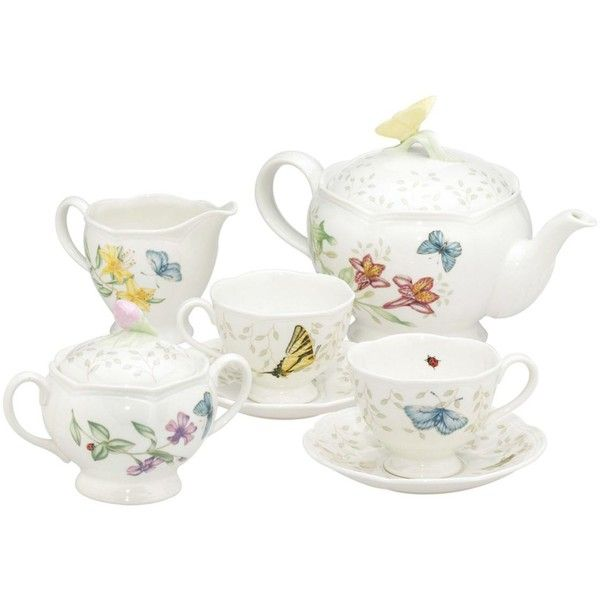 "Lenox ""Butterfly Meadow"" 7-Piece Tea Set, Service for Two ($268) ❤ liked on Polyvore featuring home, kitchen & dining, teapots, tea, teapot, no color, floral teapot, butterfly tea set, tea sets and lenox teapot"