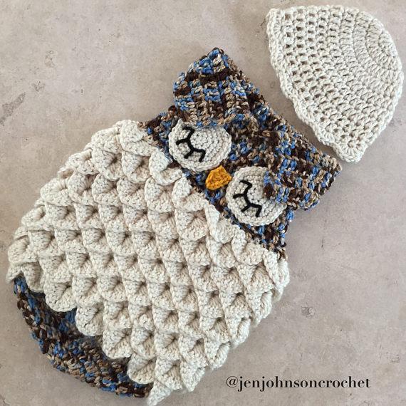 Crochet NEWBORN Owl Sleep Sack / Cocoon / photoprop / blanket ...