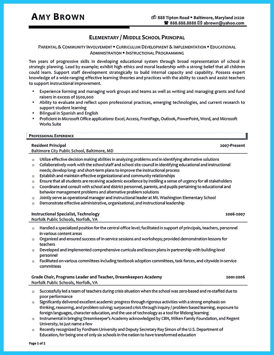 Resume For Assistant Principal Sample Resume Letters Job Application