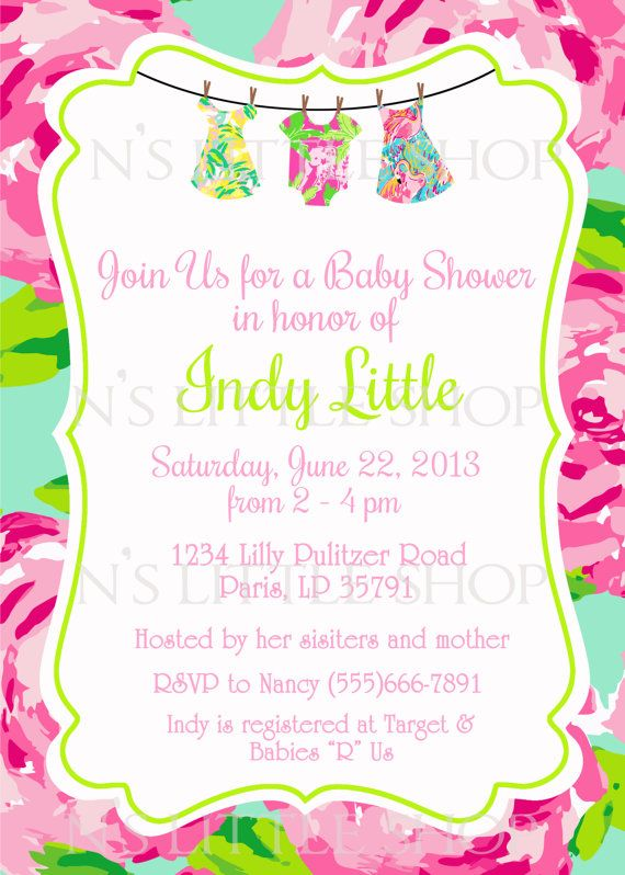 Lilly Pulitzer Inspired Baby Shower Invitation Card Customize
