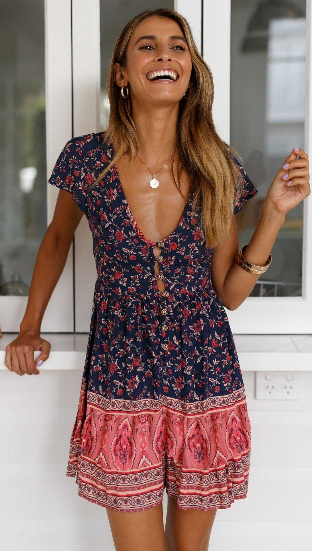 A-Line Bohemian Floral Dress Sexy V-neck Short Sleeve Mini Dress, Dark Blue / S 11