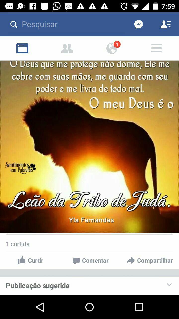 Deus é Nosso Leão Da Tribo De Judá Oração Citações Frase