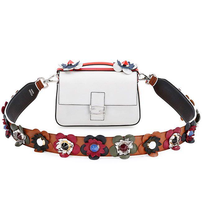 8655904c23425 Fendi handbag with a Flower   Stud Leather Guitar Strap