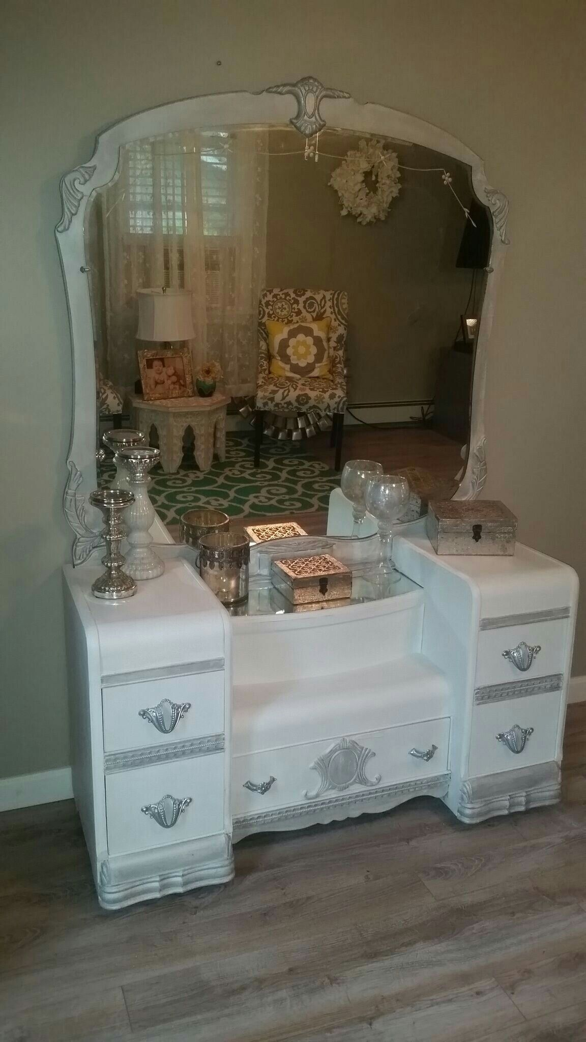 Vintage waterfall vanity and mirror. I finished this in