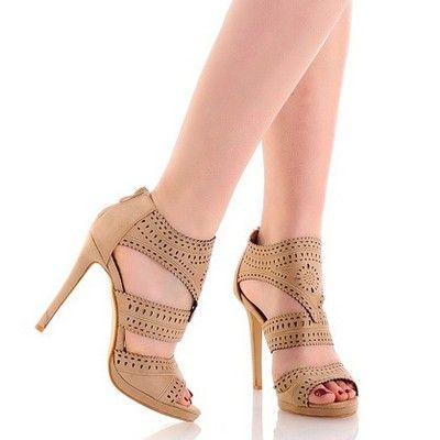 Azurowe Bezowe Sandaly Na Szpilce Heels Shoes Peep Toe