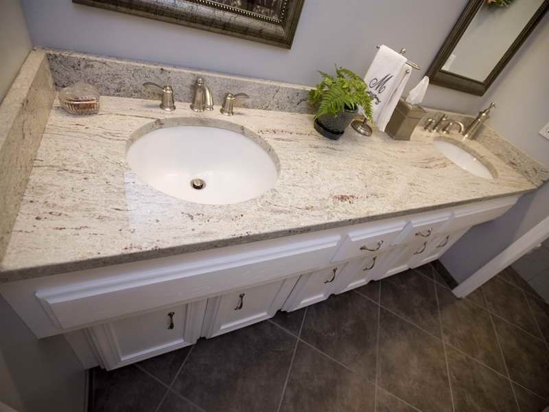 Bathroom Design River White Granite