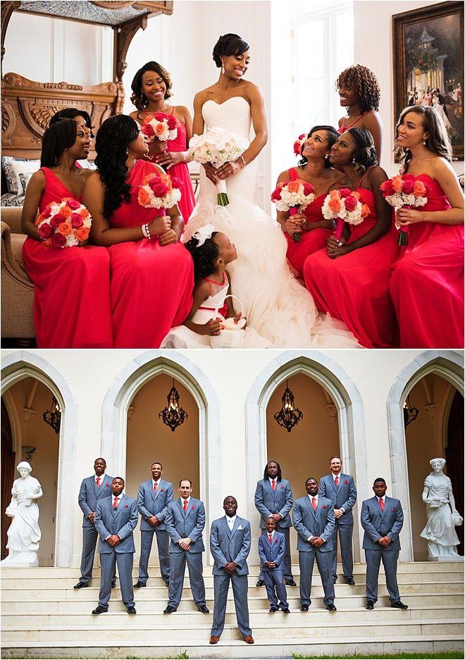 Red Wedding Inspiration ~ Red Bridesmaid Dresses ~ Gray Groomsmen ...