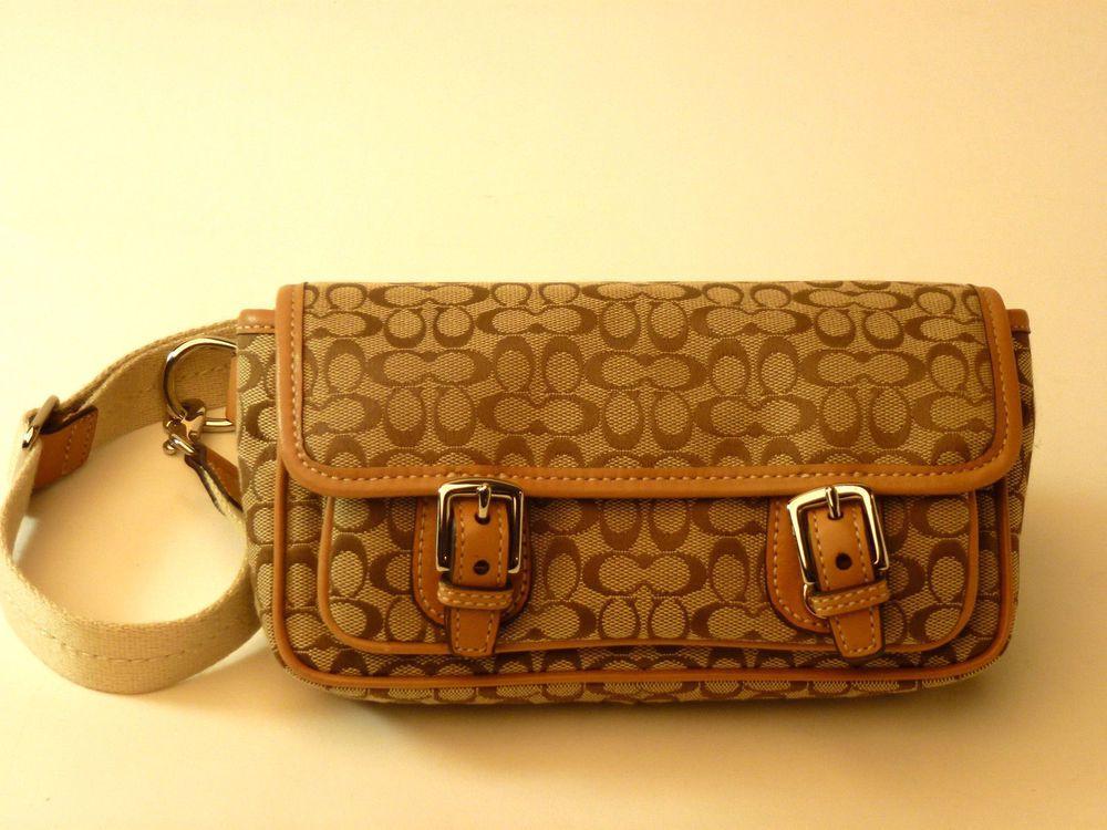 Authentic Coach Khaki Brown Signature Waist Bag Pack Mint Waistbag