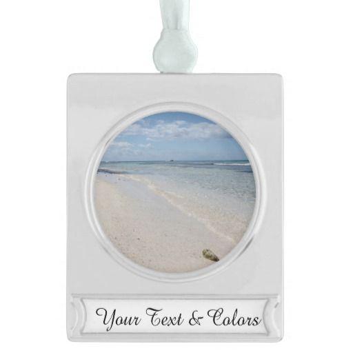 Isla Saona - Caribbean Beach Silver Plated Banner Ornament