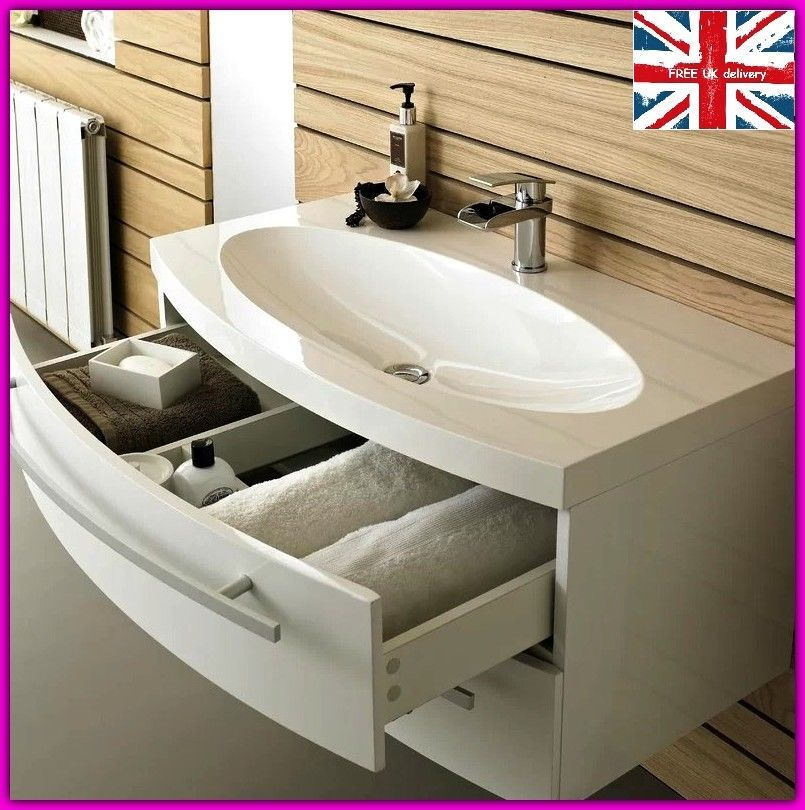 Bathroom Wash Basin Sink Storage Drawer Cabinet Vanity Unit Wall