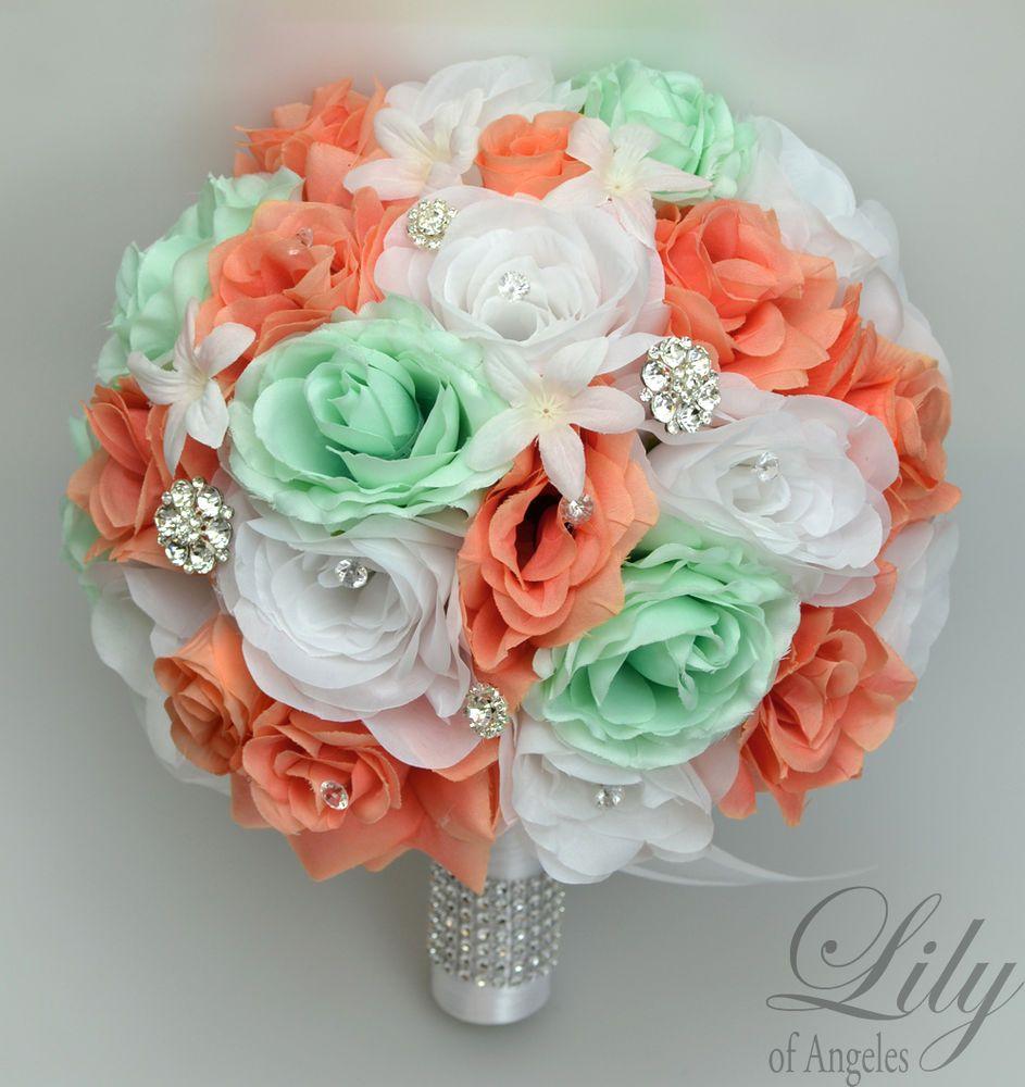 17 Piece Package Silk Flower Wedding Bridal Bouquets Diamonds Jewels