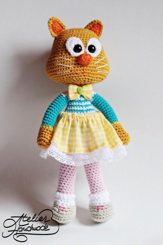 Crochet Pattern CAT - Olga, the corporate cat. Amigurumi crochet cat pattern. PDF FILE