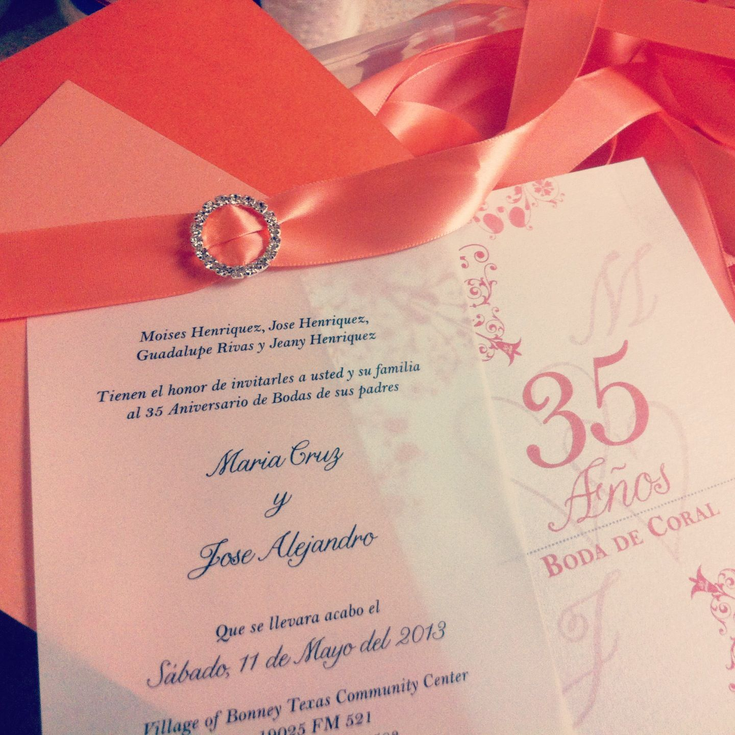 Coral/Calla Lilly inspired 35th Wedding Anniversary Invitations ...