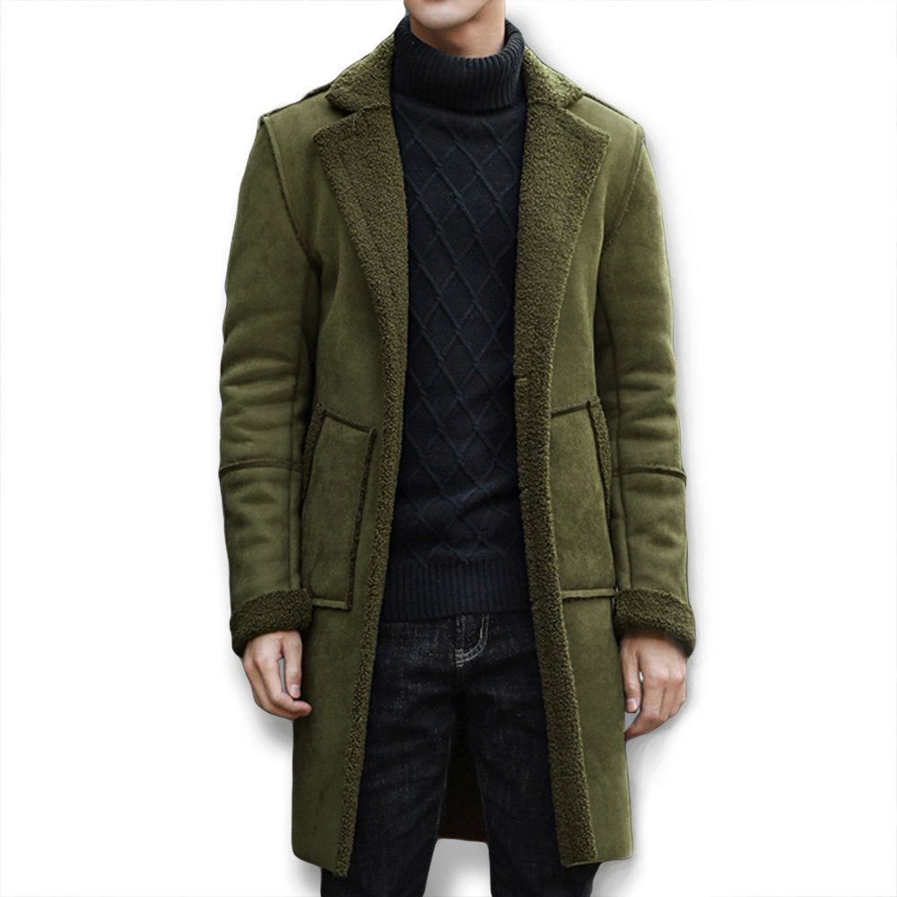 Mid Long Thicken Fur Warm Wool Blend Coat Jacket For Men  f25506993