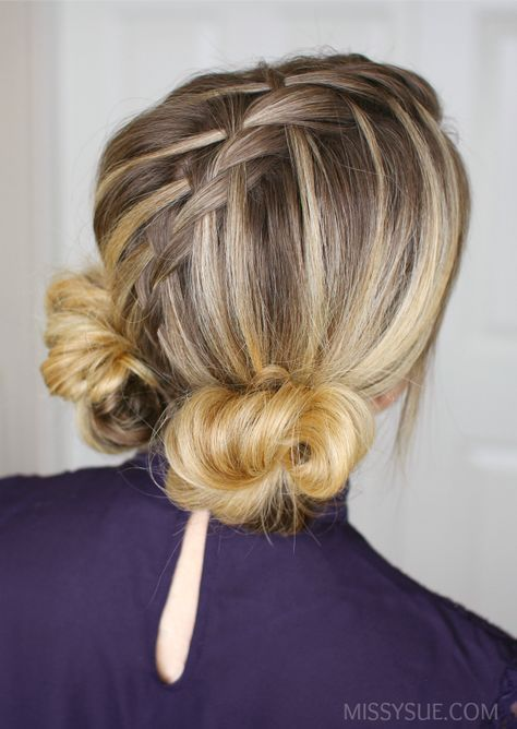 Waterfall Mohawk Double Low Buns Missy Sue Hair Styles Hair Videos Tutorials Hair Videos