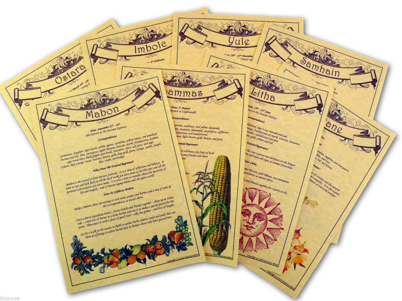 WICCAN FESTIVALS Set of 8 A4 Parchment Pages pagan book of shadows BOS sabbats | eBay