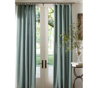 For Living Room Pottery Barn Emery Drapes In Blue Dawn Linen Drapes Cotton Drapes Glam Living Room