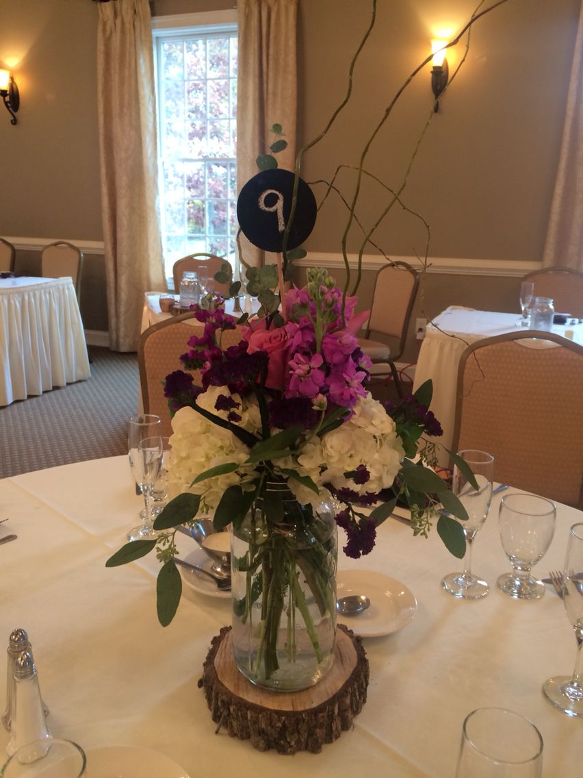 Simple Yet Elegant Centerpiece At Sand Springs Purple Weddings