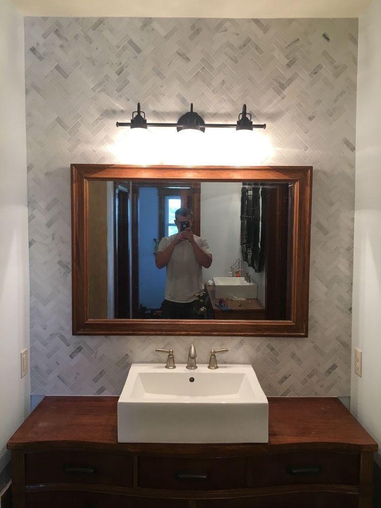 Carrera White Marble 1x3 Herringbone Mosaic Tile Kitchen