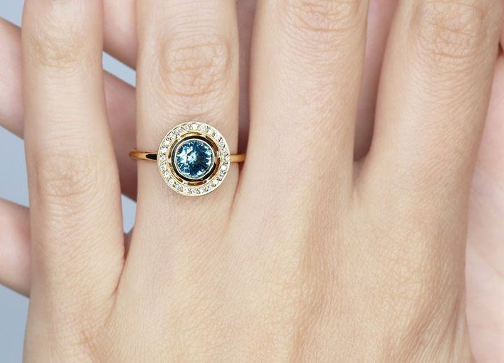 Teal Sapphire Halo Ring