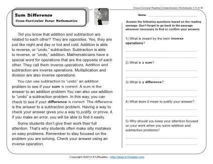 Math comprehension worksheets info