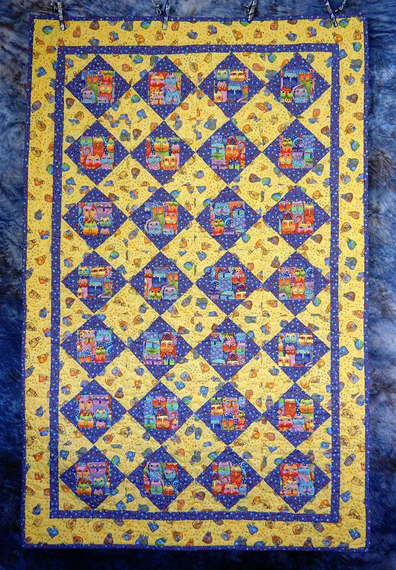 Laurel Burch Fanciful Felines Quilt Throw Wall Hanging ...