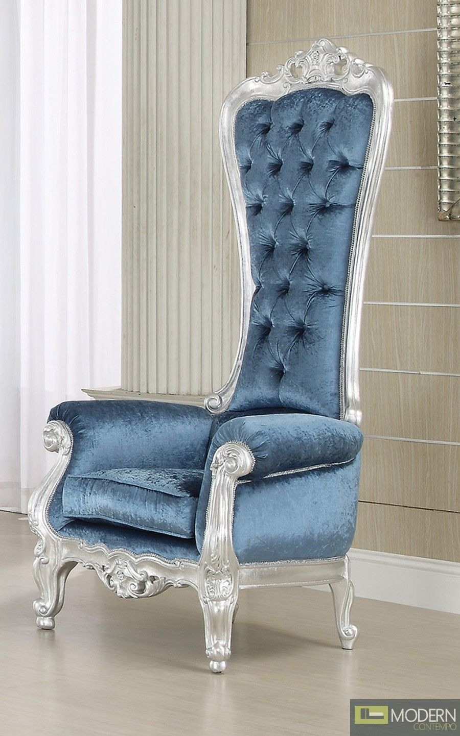 French Style Extreme High Back Royal Throne Accent Armchair