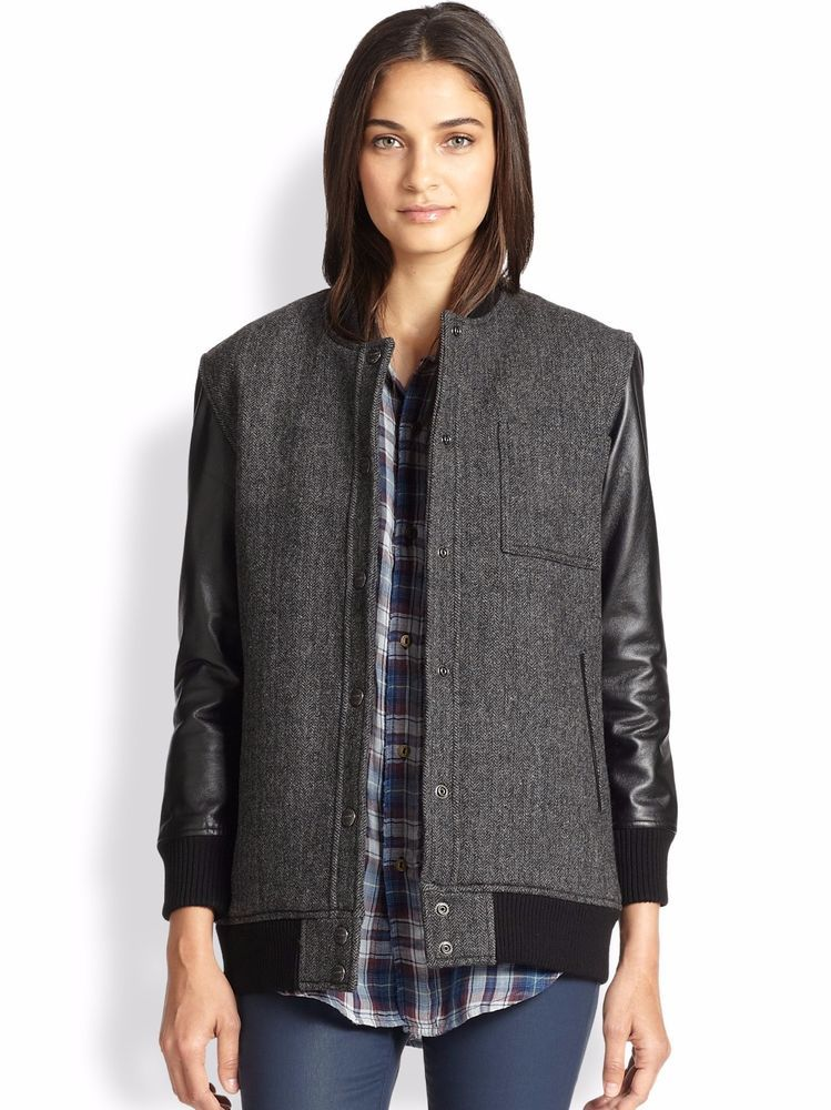Current Elliott Stanwood Leather-Sleeved Herringbone Bomber Jacket Med NWT $698 #CurrentElliot #BomberJacket