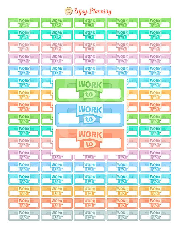 Work Printable planner stickers Printable Work Stickers Work - work schedule