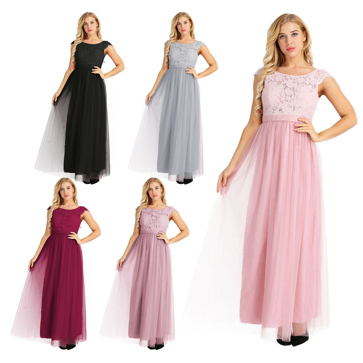 Damen Kleid Lang festlich Spitzenkleid Cocktailkleid Elegant