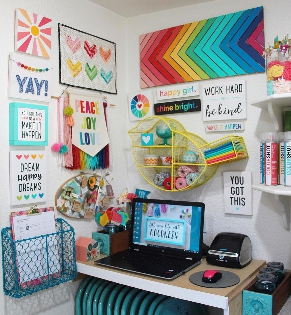 This Is The Happiest Little Craft Room Corner Ever We Love It Justaddsunshineinc Craftroom Craftspace Craftstud Craft Room Craft Room Design Crafts Arts and crafts room