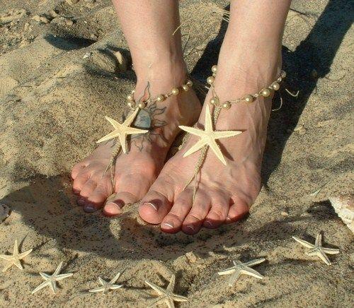b16bb1f9ce6 Natural Dried Starfish Barefoot Sandals | La Bling***! | Barefoot ...