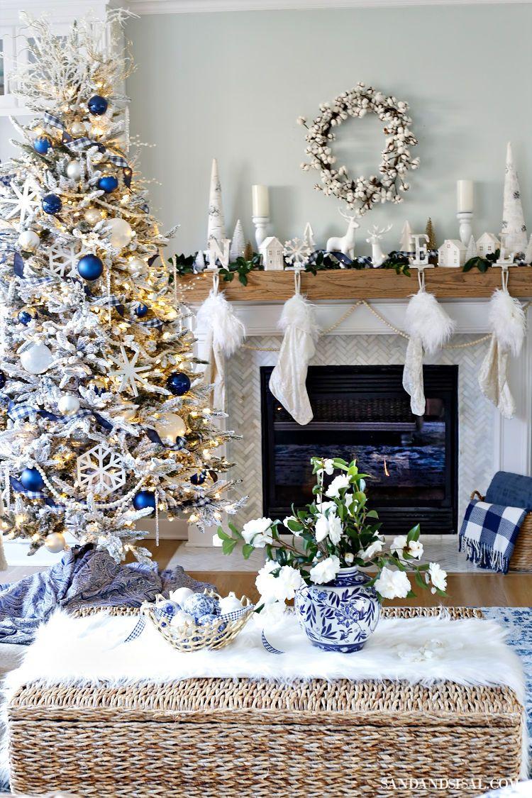 A Very Merry Blue Christmas Tour Sand And Sisal Blue Christmas Decor White Christmas Decor Coastal Christmas Decor