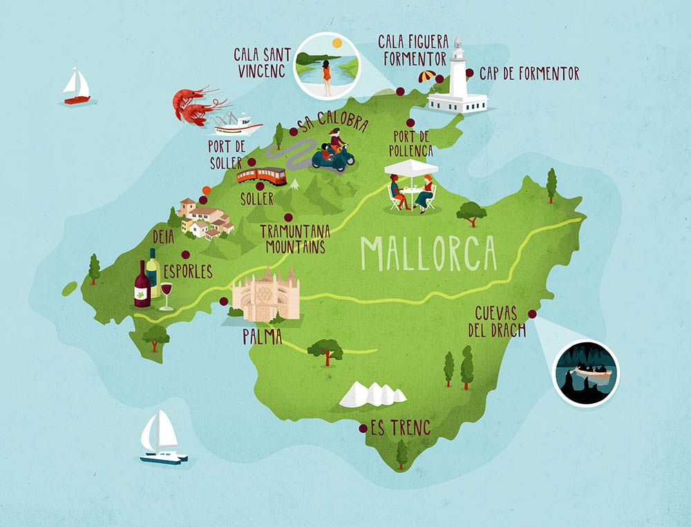 mallorca map illustration kerryhyndmancom mallorca Pinterest