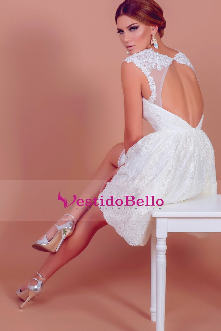 Iovely V cuello corto y Mini Lace boda de marfil viste barato US ...