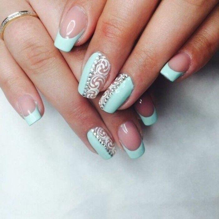 diseños-de-uñas-color-menta-uñas-francesas | Moda | Pinterest ...