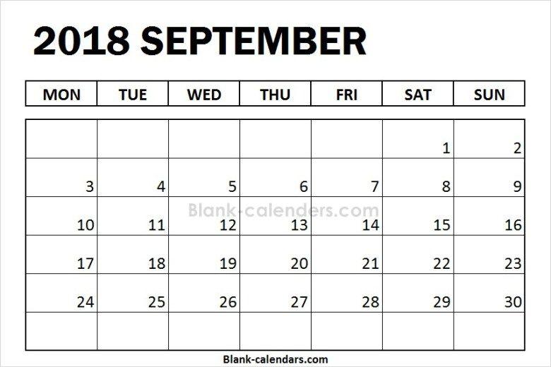 blank september calendar 2018 monday start