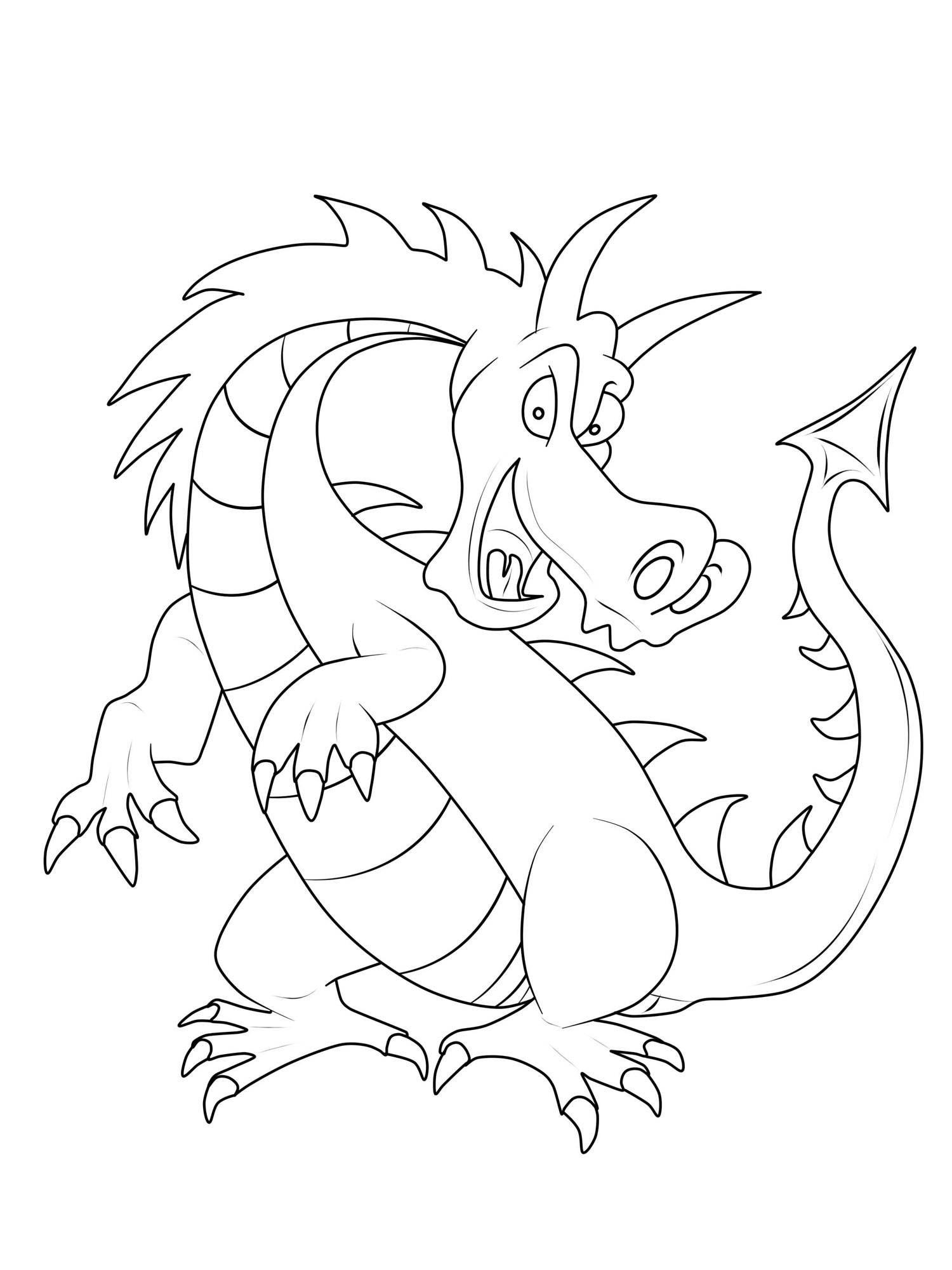 Ausmalbild Ritter und Drachen: Großer gefährlicher Drache