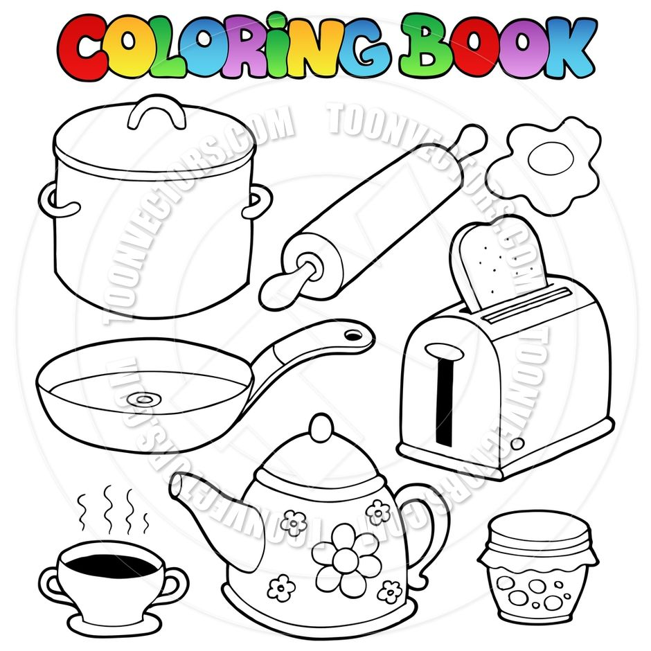Kitchen Items Colouring Pages Coloring Other Pinterest