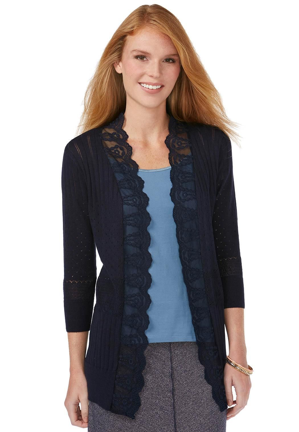 Lace Trim Cardigan Sweaters Cato Fashions | Sweater Weather ...