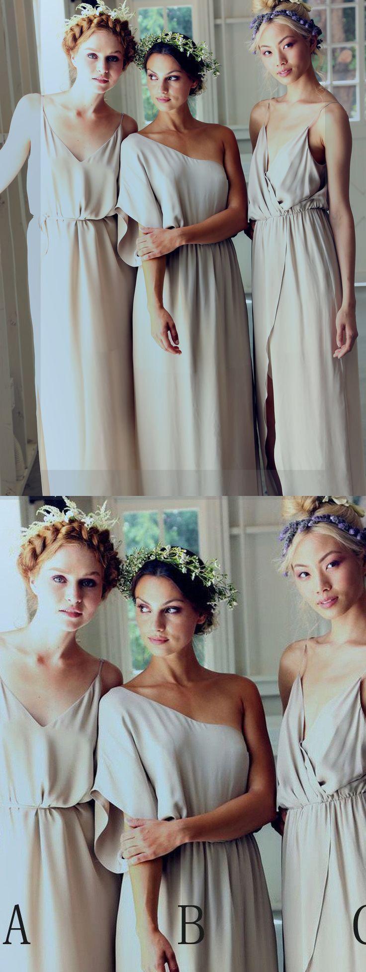 Custom made floorlength bridesmaid dress long grey dresses with