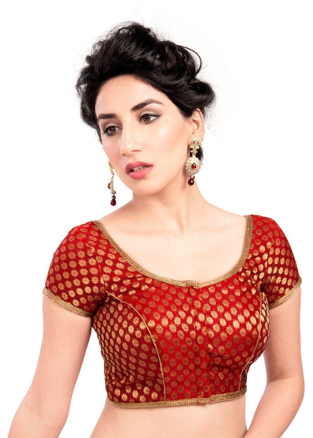 34a57c2e1e Enchanting Red Brocade Ready-made Party-wear Indian Saree Blouse - 86b SL