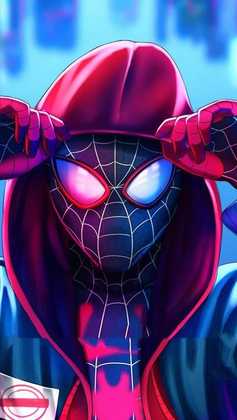 Miles Spiderman Hoodie Iphone Wallpaper Free in 2020