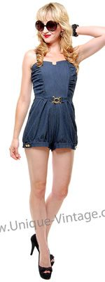 SALE! 1940's Stye Stop Staring Rio Demin Playsuit - S to XL