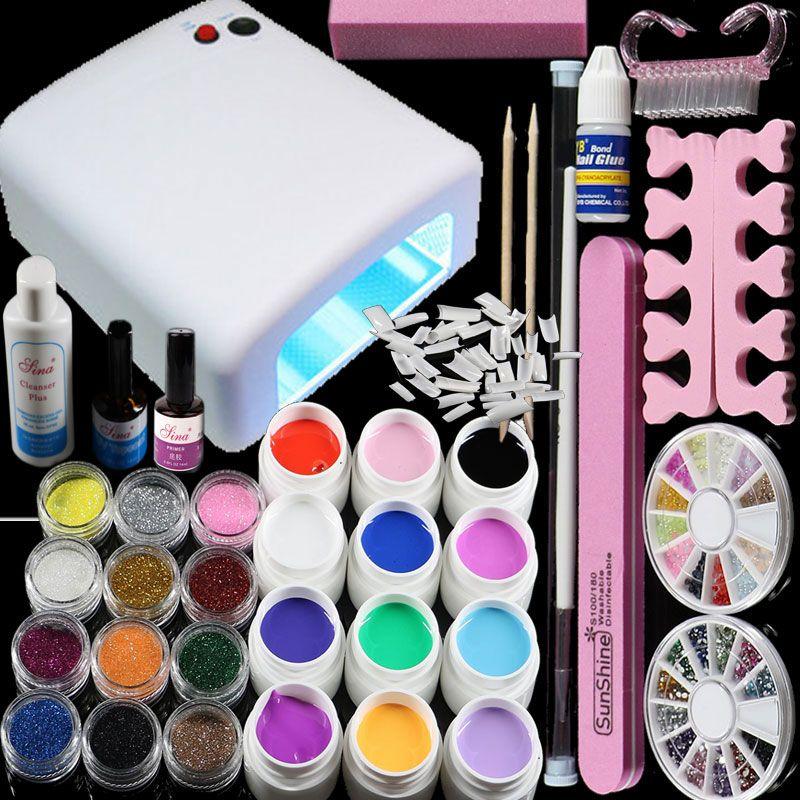 BTT-76 Professional Full Set 12 color UV Gel Kit Brush Nail Art Set ...