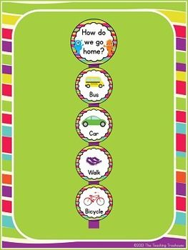 """This adorable """"How do we go home?"""" clip chart will go great with any monster theme classroom décor! Attach the cards to a wide ribbon and hang. Use clothespins with each child's name on them to keep track of how the students will go home each day. 6 cards included-choose as many or as few as you need for your classroom. Also included is a blank/editable card, so you can add your own ways! $"""