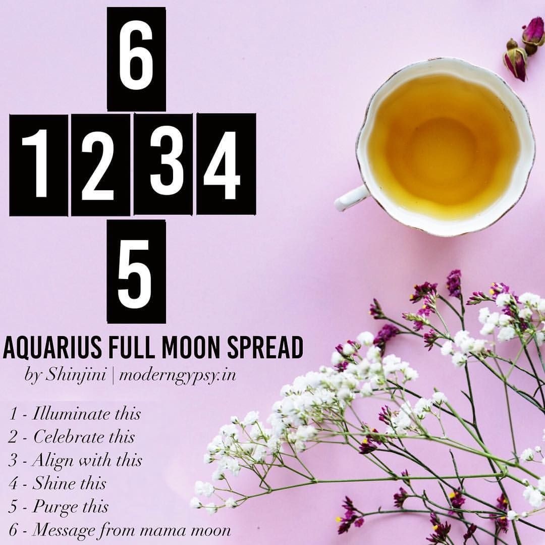 Shinjini A tarot spread for the full moon in July. July's Blessing Moon takes place in the sign of Aquarius this year. When independent, free-thinking Aquarius hooks up with a full moon,… #fullmoontarotspread